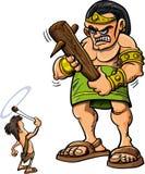 Desenhos animados David e colosso Foto de Stock Royalty Free