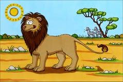 Desenhos animados de África - leão com zebras Fotos de Stock Royalty Free