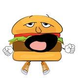 Desenhos animados de bocejo do hamburguer Fotos de Stock