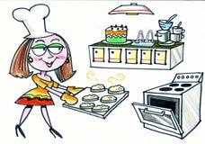 Desenhos animados de bolos felizes do cozimento da mulher na cozinha Fotos de Stock