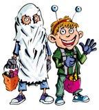 Desenhos animados de crianças de Halloween ilustração royalty free