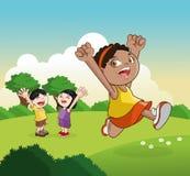 Desenhos animados de crianças felizes, ilustração do vetor Fotos de Stock
