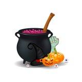 Desenhos animados de Dia das Bruxas, composição dos símbolos vector o arranjo dos objetos, as abóboras, o chapéu da bruxa, o cald Fotos de Stock