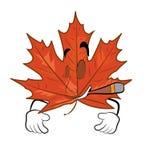 Desenhos animados de fumo da folha do mapple Fotos de Stock Royalty Free