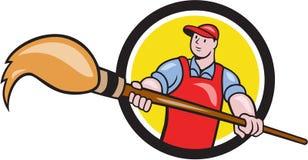 Desenhos animados de Holding Paintbrush Circle do pintor do artista Foto de Stock Royalty Free
