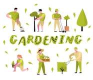 Desenhos animados de jardinagem ajustados Caráteres simples engraçados com plantas e árvores Jardineiro do homem e da mulher ilustração royalty free