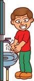 Desenhos animados de lavagem das mãos do homem Fotos de Stock