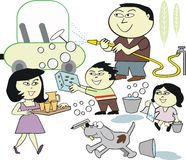 Desenhos animados de lavagem do carro da família Foto de Stock