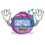 Desenhos animados de mergulho do caráter da couve vermelha Foto de Stock