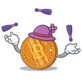Desenhos animados de mnanipulação do caráter da moeda do bitcoin ilustração do vetor