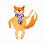 Desenhos animados de ondulação da ilustração da técnica da aquarela da pata do lenço do Fox ilustração do vetor
