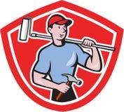 Desenhos animados de Paint Roller Shield do pintor de casa ilustração stock