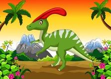 Desenhos animados de Parasaurolophus na selva Fotografia de Stock
