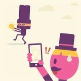 Desenhos animados de pensamento da ideia do homem de negócios Imagem de Stock