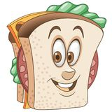 Desenhos animados de queijo e sanduíche do salame ilustração do vetor