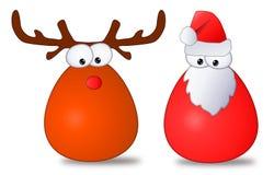 Desenhos animados de Santa & de Rudolph Ilustração Stock