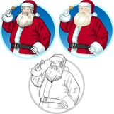 Desenhos animados de Santa Claus do caráter do Natal ajustados Foto de Stock