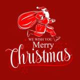 desenhos animados de Santa Claus do fundo do Feliz Natal ilustração stock