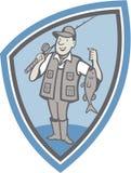 Desenhos animados de Showing Fish Catch do pescador da mosca Imagem de Stock