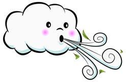 Desenhos animados de sopro do vento da nuvem bonito Fotos de Stock Royalty Free