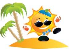 Desenhos animados de Sun na praia Foto de Stock