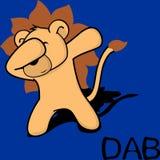Desenhos animados de toque ligeiro da criança do leão da pose da solha ilustração stock