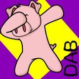 Desenhos animados de toque ligeiro da criança do porco da pose da solha ilustração do vetor