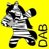 Desenhos animados de toque ligeiro da criança da zebra da pose da solha ilustração do vetor