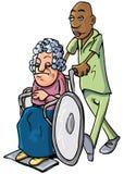 Desenhos animados de um assistente hospitalar que empurra uma senhora idosa ilustração stock