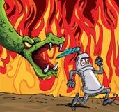 Desenhos animados de um cavaleiro que funciona de um dragão feroz ilustração royalty free