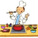 Desenhos animados de um cozinheiro na cozinha Imagem de Stock