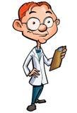 Desenhos animados de um doutor nerdy Imagem de Stock