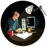 Desenhos animados de um funcionamento do artista ilustração royalty free