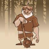 Desenhos animados de um herói de sorriso em um capacete com um bastão Imagens de Stock Royalty Free