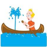 Desenhos animados de um homem em uma canoa de naufrágio ilustração stock