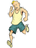 Desenhos animados de um homem running Fotografia de Stock Royalty Free