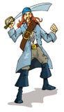 Desenhos animados de um pirata com um cutelo Imagens de Stock Royalty Free