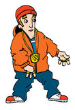 Desenhos animados de um rapper branco adolescente Fotos de Stock