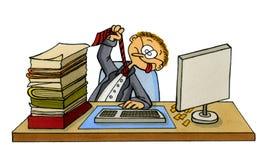 Desenhos animados de um trabalhador de escritório frustrante Fotografia de Stock Royalty Free