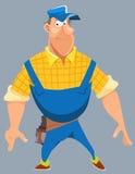 Desenhos animados de um trabalhador masculino ronco de sorriso no uniforme Foto de Stock