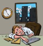 Desenhos animados de uma estadia home de espera do homem Imagens de Stock