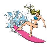 Desenhos animados de uma mulher loura que surfa ilustração stock