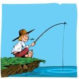 Desenhos animados de uma pesca do menino Imagens de Stock