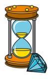 Desenhos animados de vidro do diamante da areia ilustração royalty free