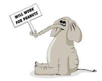 Desenhos animados desempregados do elefante Fotos de Stock