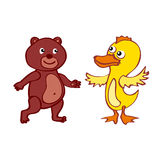 Desenhos animados desenhados à mão do arquivo EPS10 do vetor do pato do urso Fotografia de Stock Royalty Free
