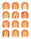 Desenhos animados diferentes da coleção das emoções da cara da menina ou da mulher lisos - grupo da ilustração do ícone do emotic Imagem de Stock Royalty Free