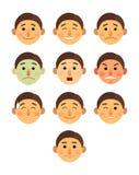 Desenhos animados diferentes da coleção das emoções da cara do menino ou do homem lisos - grupo da ilustração do vetor do ícone d Fotos de Stock