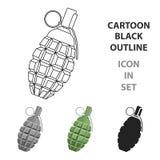 Desenhos animados do ícone da granada Único ícone da munição grande, braços da arma ajustados ilustração stock