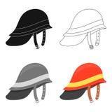 Desenhos animados do ícone de Helmet do sapador-bombeiro Único ícone do equipamento do fogo da silhueta dos desenhos animados gra Fotos de Stock Royalty Free